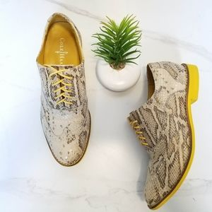 Cole Haan Alisa Oxfords Snake Print Yellow Cream